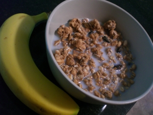 Zoe's Cinnamon Raisin Granola + skim milk + banana