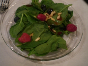 then continued on with a berry spinach salad...